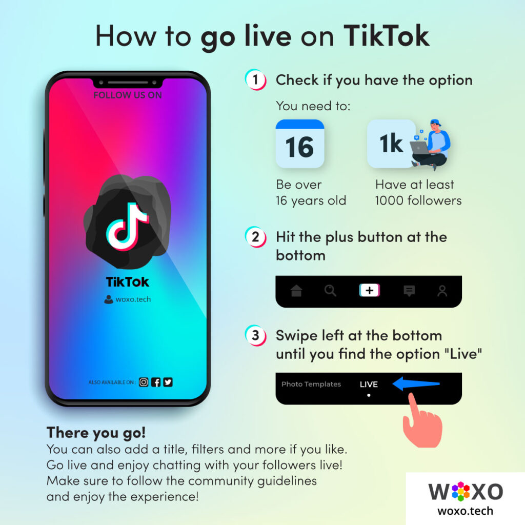 """Description of how to go live on tiktok. Step 1: check if you have the option. Step 2: Hit the plus button. Step 3: Swipe left until you find the option """"Live"""""""